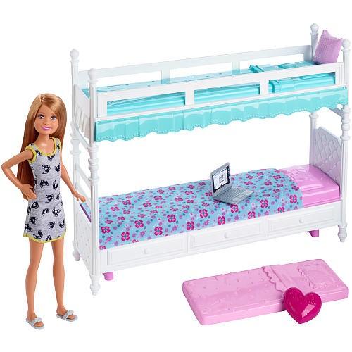 Mattel Barbie Lalka Z Mebelkami Stacie I Piętrowe Ł 243 żko
