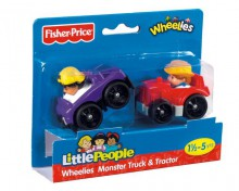 Fisher Price Little People W Kółkowicach Dwupak Monster Truck i Traktor V2513 V3386