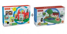 Fisher Price Little People Wesoła Farma (BDY68) + Zagroda dla Świnek i Staw(Y8199) CDC42