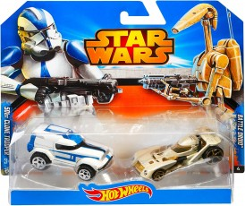 Mattel Hot Wheels Star Wars Samochodziki Dwupak Clone Trooper & Battle Droid CGX02 CGX07